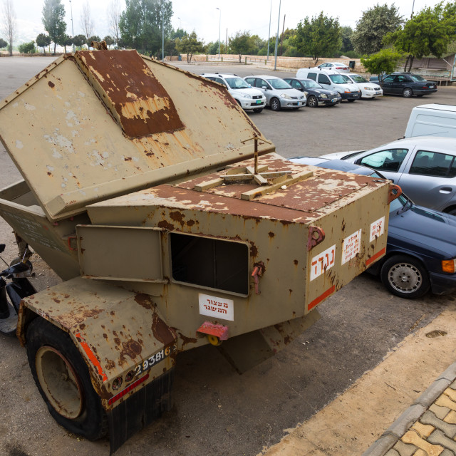 """""""Israeli vehicule in the war museum operated by Hezbollah called the tourist..."""" stock image"""