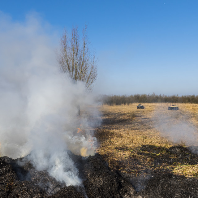 """""""Cane Burning Giethoorn"""" stock image"""