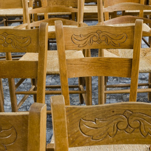 """""""Chairs in a church"""" stock image"""