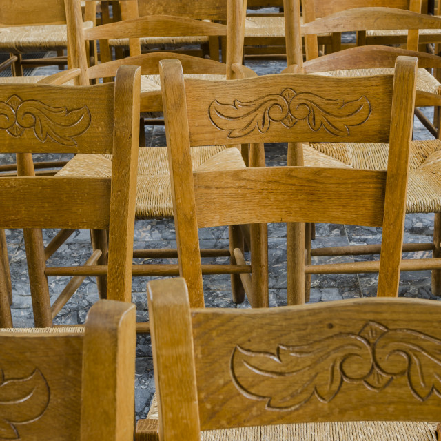 """""""Wooden Chairs in a Church"""" stock image"""