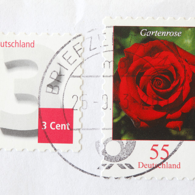 """German stamped Postage Stamp"" stock image"