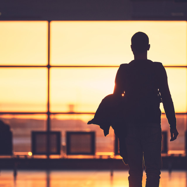 """Airport terminal at the sunset"" stock image"