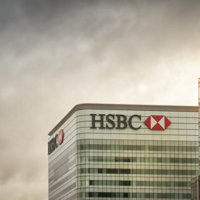 """""""HSBC office building and logo in Canary Wharf, Docklands, London, UK"""" stock image"""