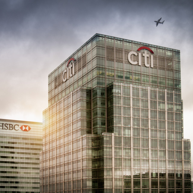 """""""Citi Bank and HSBC office buildings in Canary Wharf, Docklands, London UK"""" stock image"""