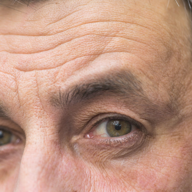 """""""Detail of middle aged man eyes"""" stock image"""