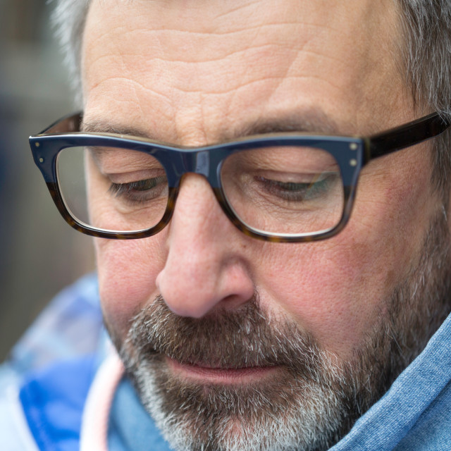 """""""Middle aged man with glasses"""" stock image"""