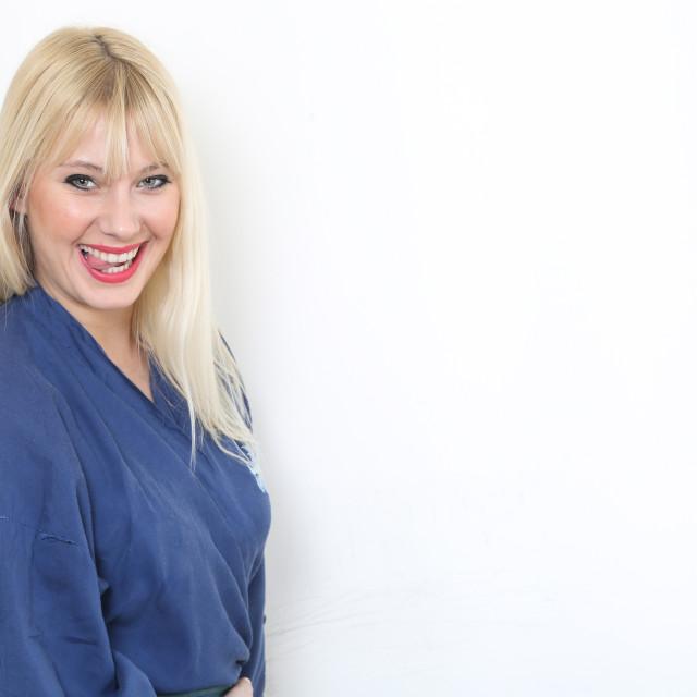 """Blond caucasian woman dressed in blue kimono"" stock image"