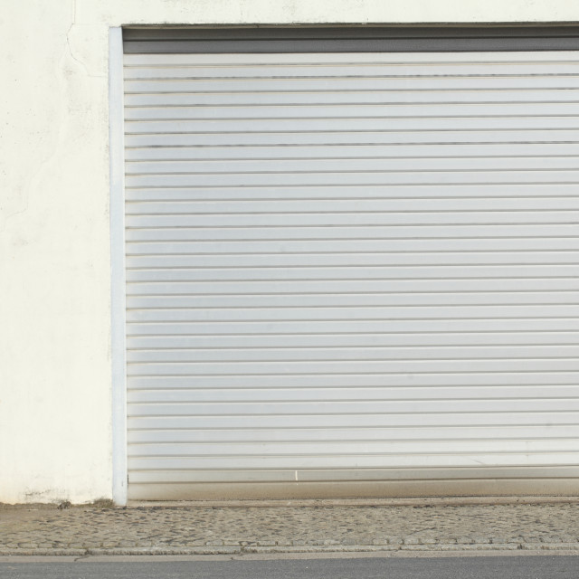 """""""Garage Gate on a white harbor scale"""" stock image"""