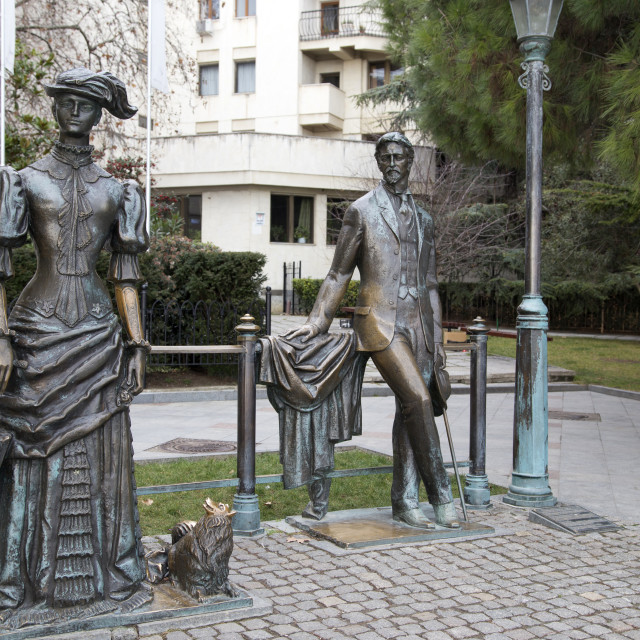 """""""Sculpture """"The Lady with the Dog"""" on the seafront of Yalta"""" stock image"""