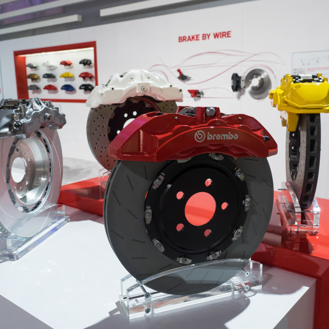 """Brembo brake display at the 2017 North American International Auto Show"" stock image"