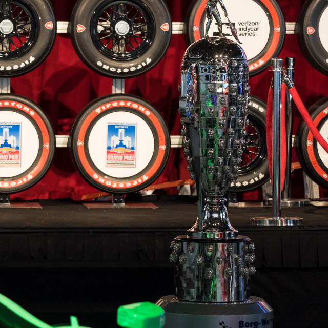 """Indy 500 Borg-Warner Trophy at the 2017 North American International Auto Show"" stock image"