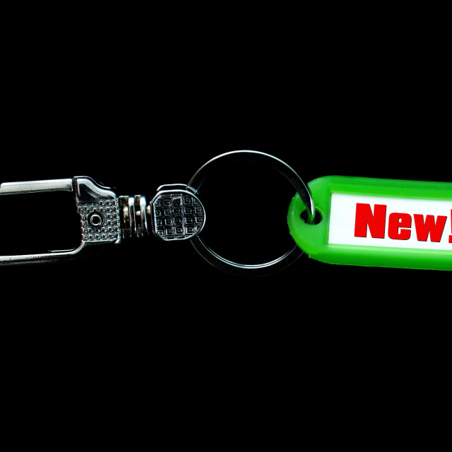 """Key holder and green label holder with text,new"" stock image"