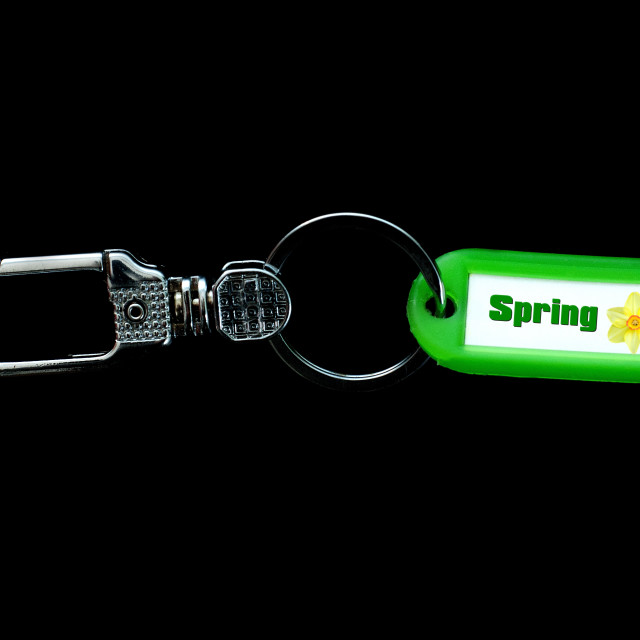 """Key holder and green label holder with text, spring"" stock image"