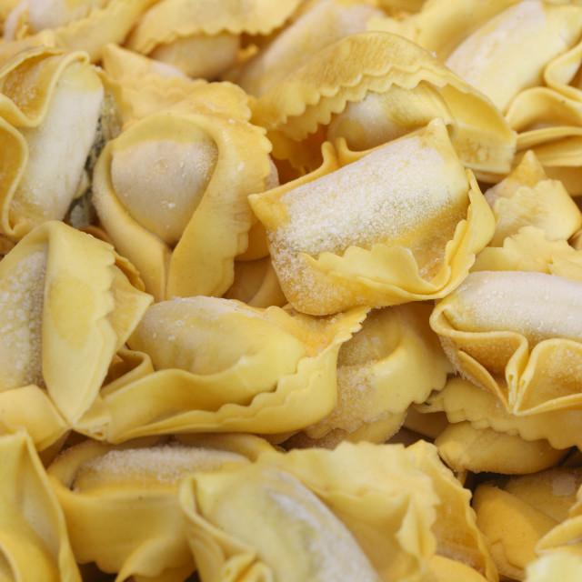 """Ricotta Tortelloni Pasta noodles"" stock image"