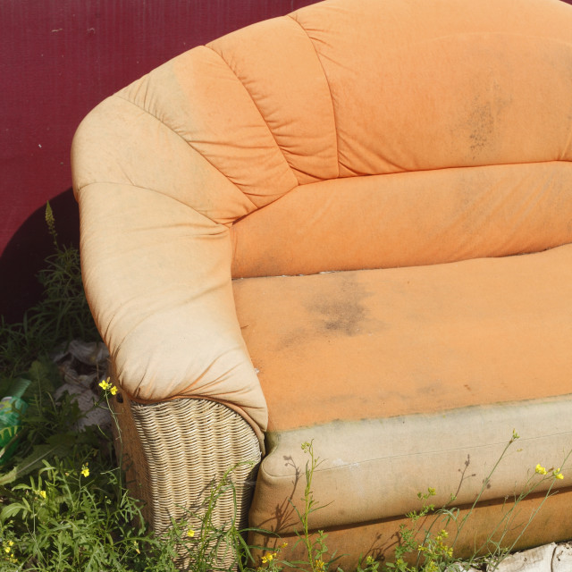 """old orange couch"" stock image"