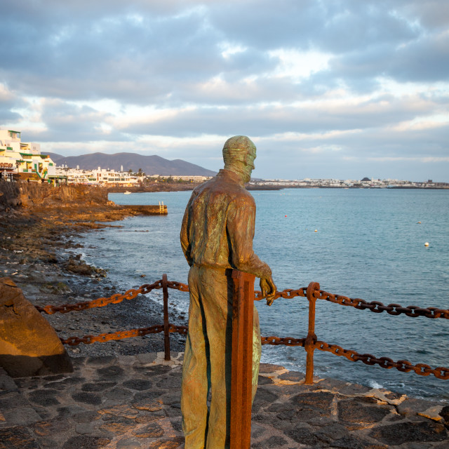 """The statue of a man in Playa Blanca in Lanzarote representing th"" stock image"