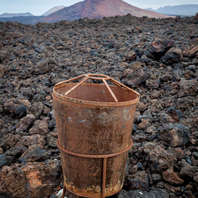 """A waste bin designed by artist Cesar Manrique on Lanzarote, one"" stock image"