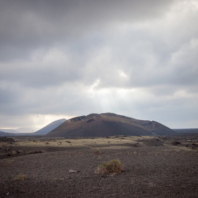 """The Caldera de los Cuervos extinct volcano in the Timanfaya nati"" stock image"