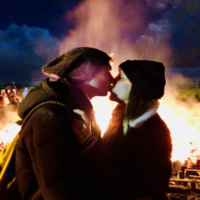 """Bonfire kisses"" stock image"
