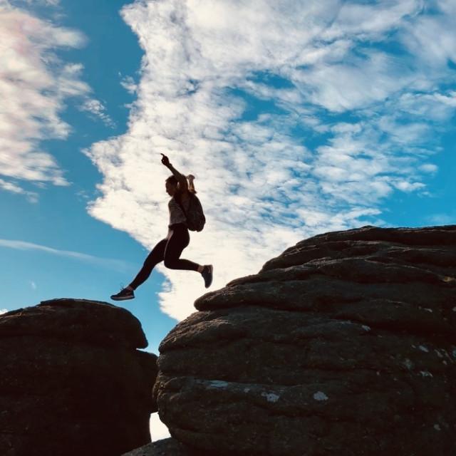"""Dartmoor Rock Jumping"" stock image"