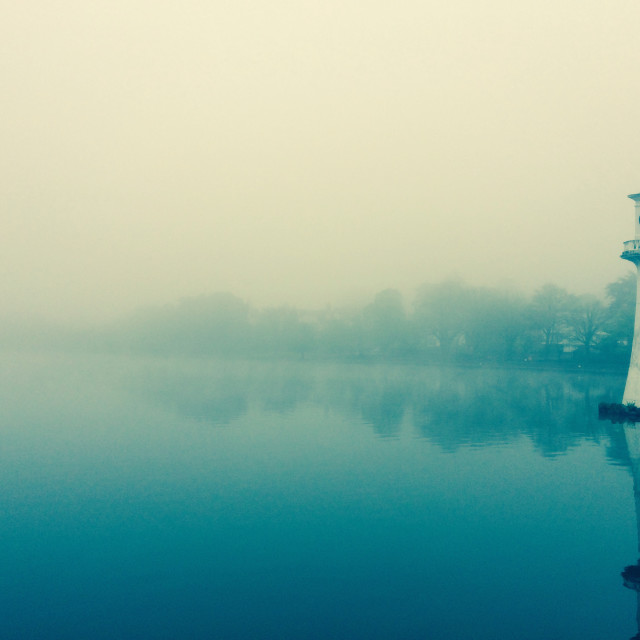 """""""Roath Park in the mist"""" stock image"""