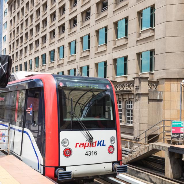 """Kuala Lumpur, Malaysia-JANUARY 18,2017: RapidKL train in the city."" stock image"
