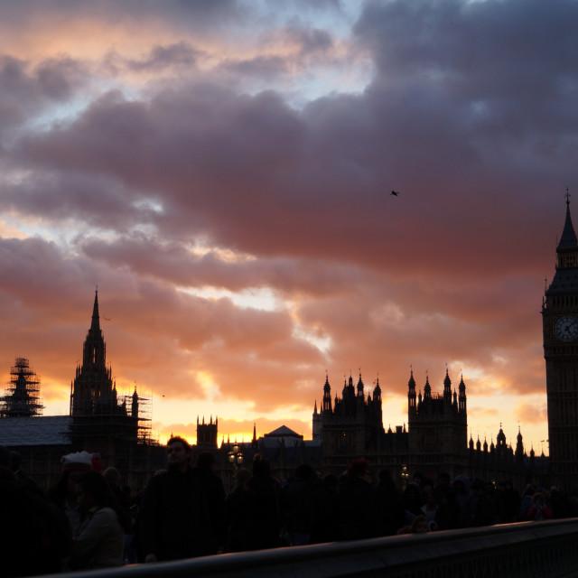 """London's sky is burning"" stock image"