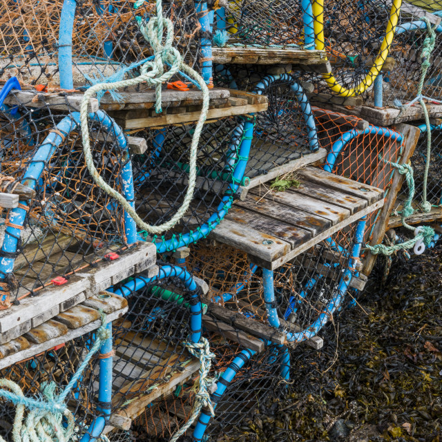 """Crab trap on Beach"" stock image"