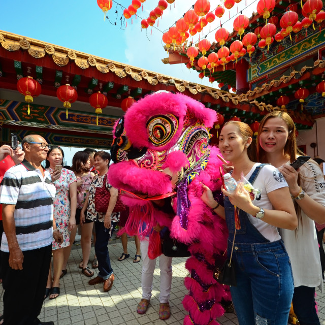 """Kuala Lumpur, Malaysia - February 16, 2018: People taking photo with lion dance during Chinese New Year celebration in Thean Hou Temple."" stock image"