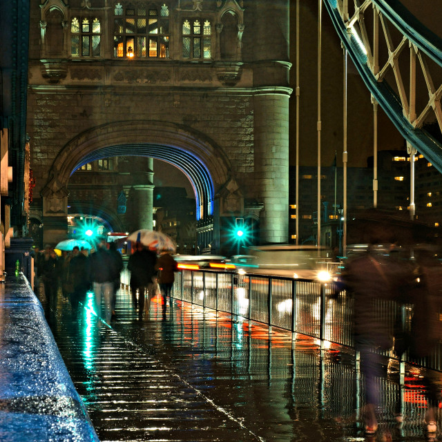 """Tower Bridge on a rainy night"" stock image"