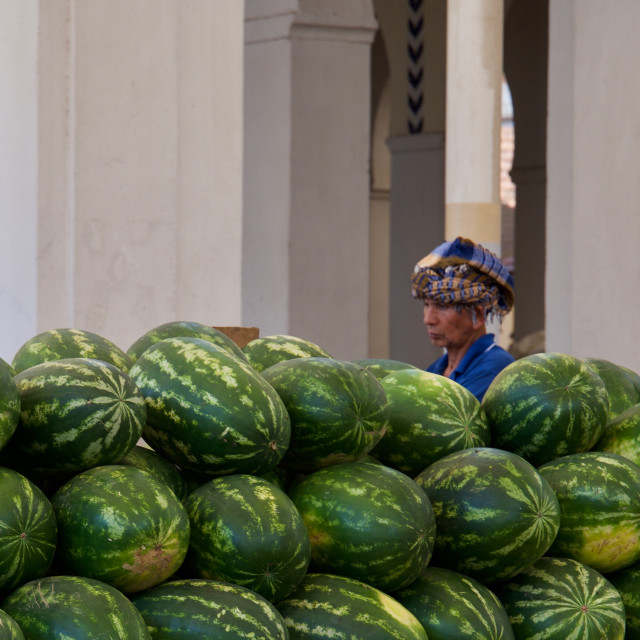 """Melon seller, Tunis"" stock image"