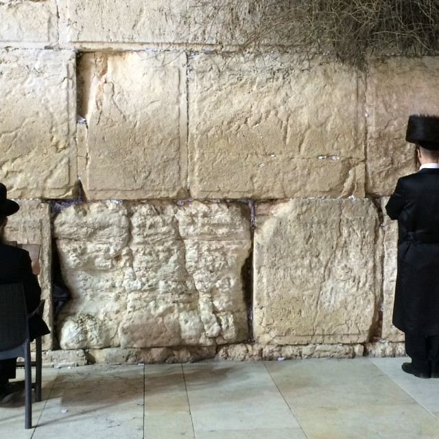 """Jews at the Wailing Wall"" stock image"