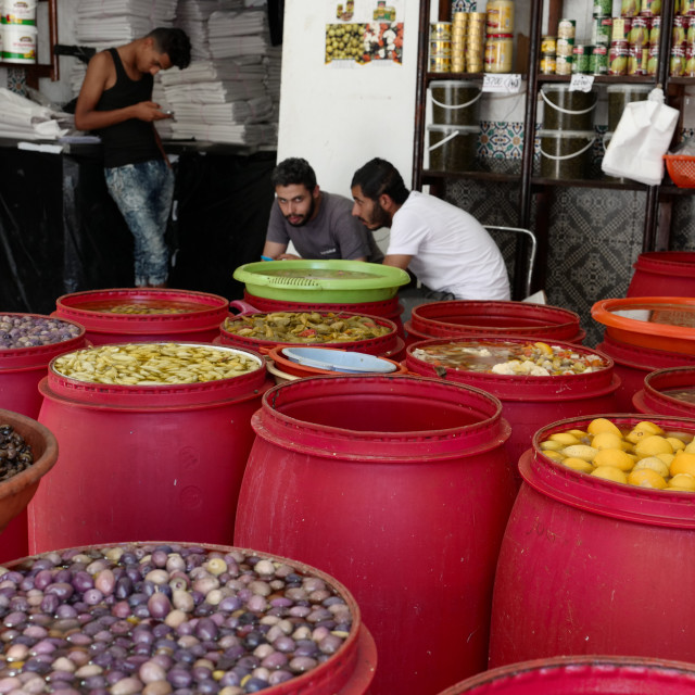 """Olive stall, Tunis"" stock image"