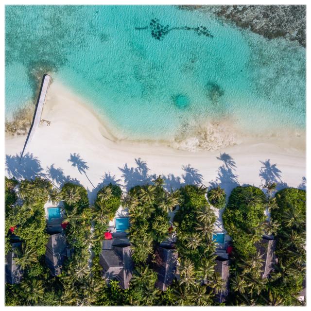 """Maldivian Beach Villas"" stock image"