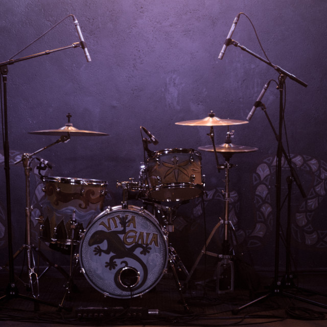"""""""Drum Set all set for the Concert"""" stock image"""
