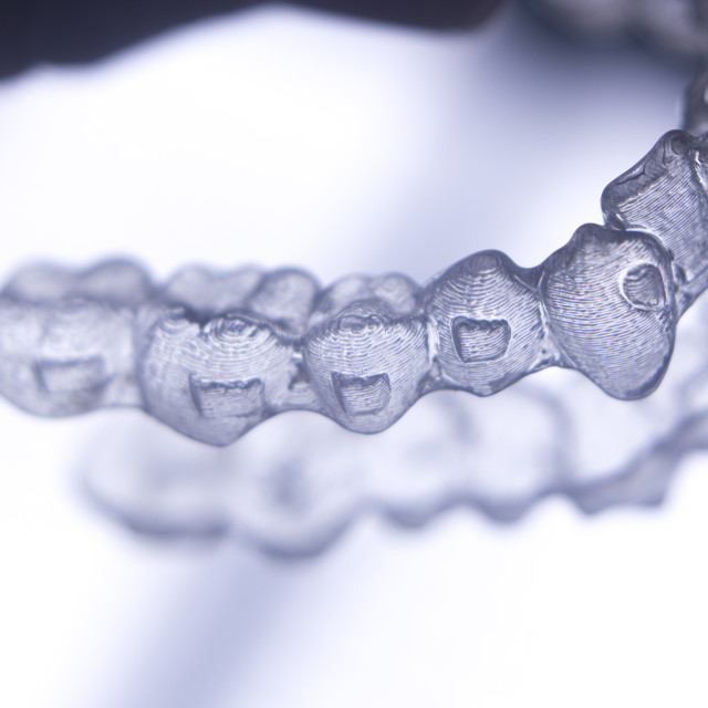 """Invisible teeth aligners braces"" stock image"