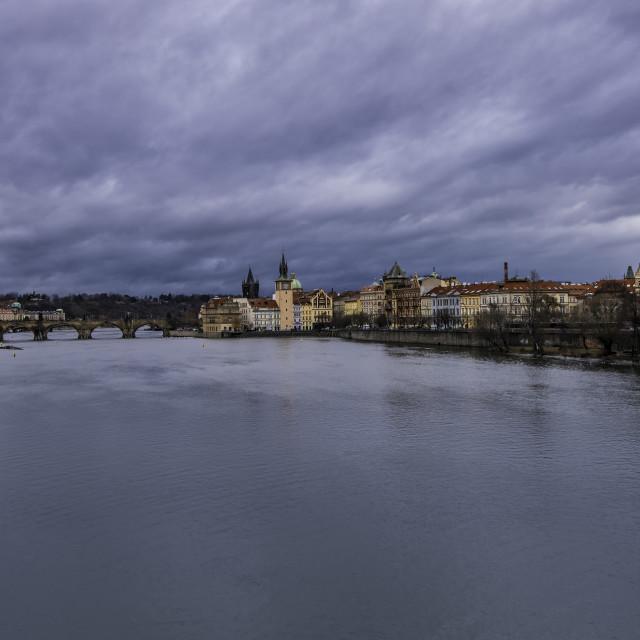 """""""Prague and Vltava river"""" stock image"""