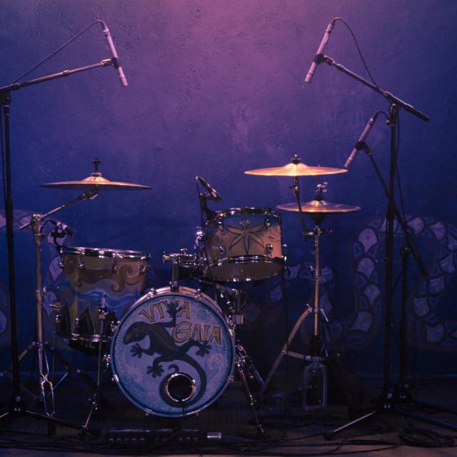 """Drum Set all set for the Concert-v2"" stock image"