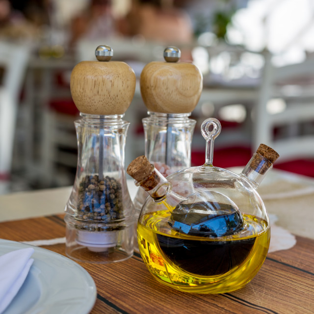 """""""Cruet with olive oil and balsamic vinegar selective focus"""" stock image"""