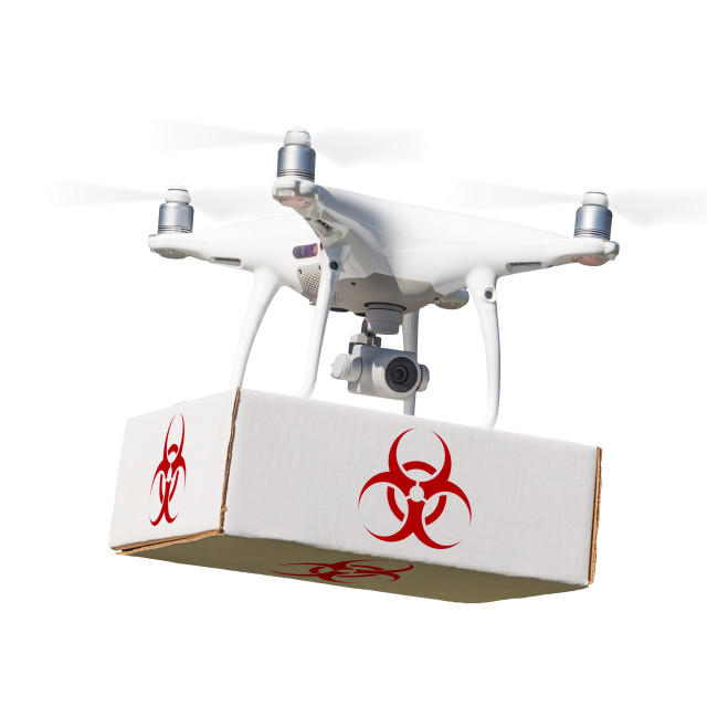 """""""Unmanned Aircraft System (UAV) Quadcopter Drone Carrying Package With..."""" stock image"""
