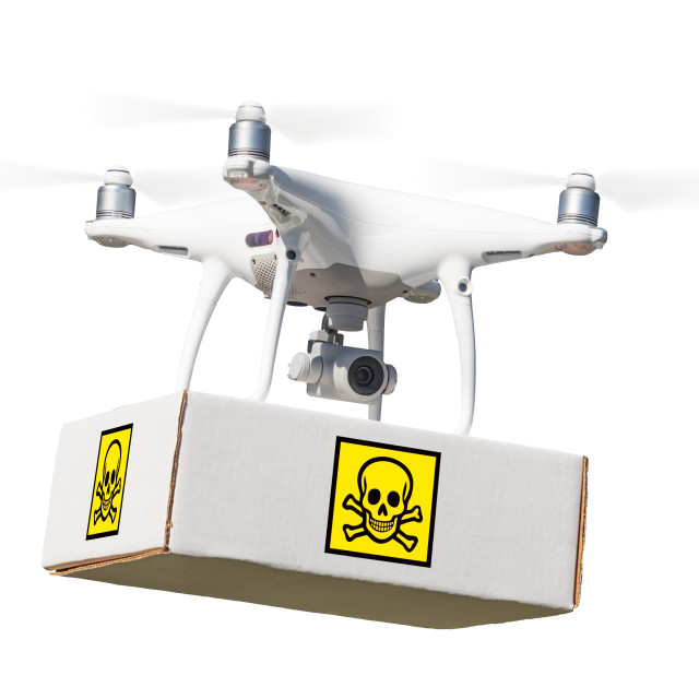 """""""Unmanned Aircraft System (UAV) Quadcopter Drone Carrying Package With Poison..."""" stock image"""
