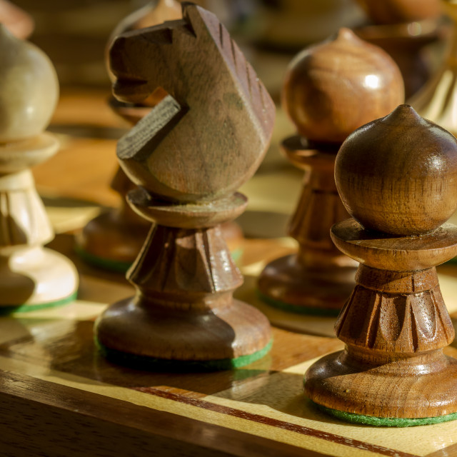 """""""Chess board in dramatic light"""" stock image"""