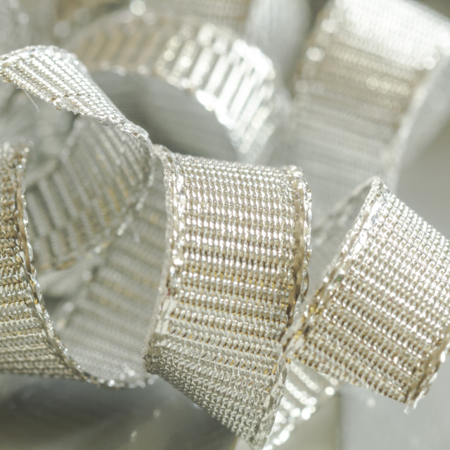 """Abstract background of silver ribbon strands"" stock image"