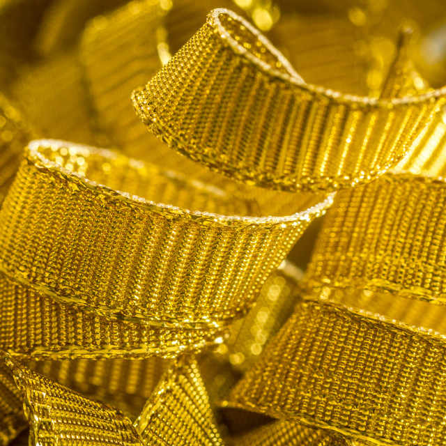 """Abstract background of gold ribbon strands"" stock image"