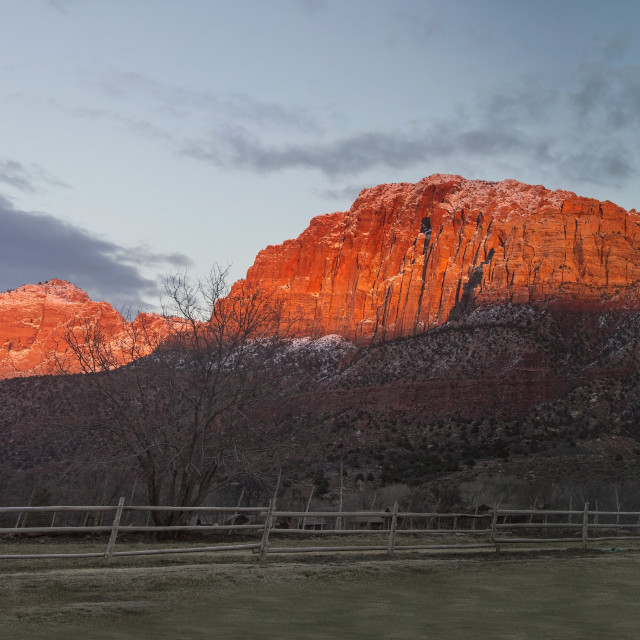 """Zion Winter Sunset"" stock image"