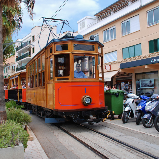 """The vintage Soller trams, Majorca"" stock image"