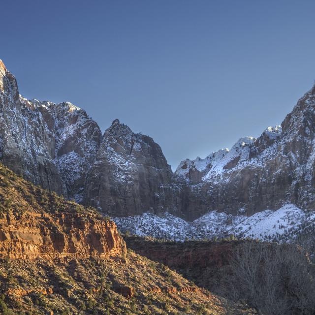 """Zion Winter Sunset"" stock image"