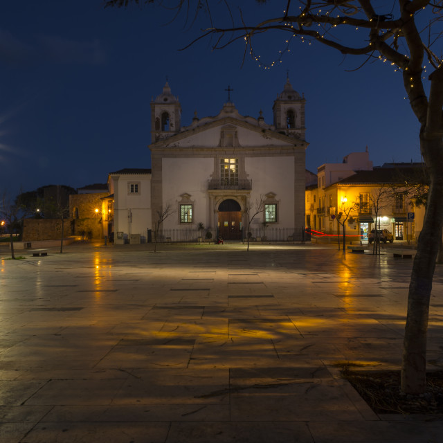 """infante dom henrique square and the church of santa maria in lagos, algarve, portugal at night"" stock image"