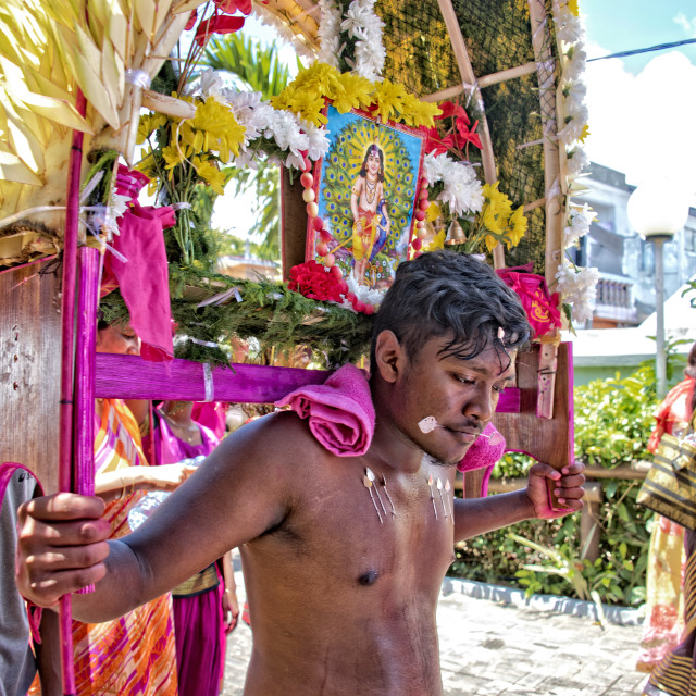 """Devotee at the Thaipoosam Cavadee Tamil festival, Mauritius"" stock image"