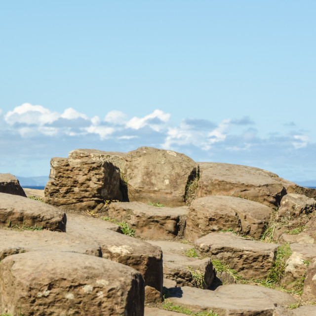 """Large rocks in foreground, Giant's Causeway"" stock image"